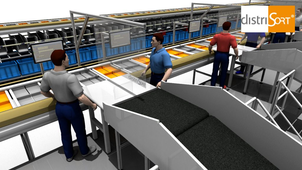 Sorter with seperating screen between two operators at the industion platform